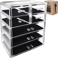 Acrylic Cosmetic Makeup Jewelry Organizer - Large 7 drawer make up holder for brush cream lipstick palette! Countertop beauty makeup organization box ideal storage for any bathroom or bedroom table! Makeup Storage Hacks, Jewelry Organization, Storage Ideas, Lots Of Makeup, Makeup To Buy, Makeup Organizer Countertop, Organizer Box, Organizers, Lipstick Palette