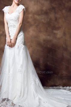 US $335.44 | Blonder off-the-skulder katedralen tog kappe brudekjole med krystal