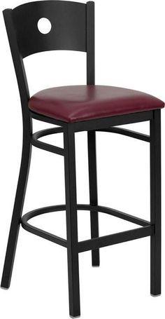 HERCULES Series Black Circle Back Metal Restaurant Bar Stool with Burgundy Vinyl Seat XU-DG-60120-CIR-BAR-BURV-GG by Flash Furniture