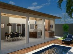 No photo description available. Small Backyard Pools, Backyard Patio, Outdoor Rooms, Outdoor Living, Future House, My House, Pool Houses, Inspired Homes, Modern House Design