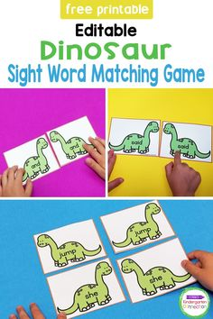 Do you have any dinosaur fans in your classroom? This FREE dinosaur sight word game is perfect for literacy centers or small groups in Pre-K and Kindergarten and can be edited and customized for any sight word list! Literacy Skills, Literacy Activities, Literacy Centers, Sight Words List, Sight Word Games, Kindergarten Literacy, Matching Games, Word Work, Small Groups