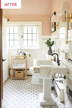 Black and white leaves possibility of all kinds of color options to change up over the seasons. (Like the blush-colored walls and ceiling.