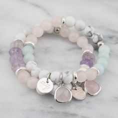 Created using beautifully marbled howlite stone, amethyst and rose quartz gemstone beads with silver Greek spacers and a feature rose Quartz pendant.Length: XS - elasticised band will fit 15-17cm wristAll Cassie Louise designs are handmade with love in her home studio on the Mornington Peninsula and are adorned with our signature 'Cassie Louise' logo charm.