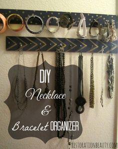 Restoration Beauty: DIY Necklace & Bracelet Organizer Use cedar board and floral napkins. Put in master closet somewhere