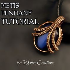 Learn to create a beautiful, regal pendant with this tutorial from Wynter Creations! With 24 pages, and over 70 high-definition, full-color photos and detailed instructions for every step, this tutorial takes you through the design from start to finish. Wire Pendant, Wire Wrapped Pendant, Pendant Necklace, Wire Weaving Tutorial, Wrap Bracelet Tutorial, Copper Wire Jewelry, Wire Jewellery, Silver Jewellery, Beaded Jewelry