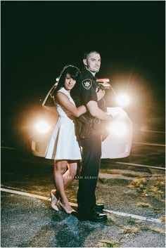 Photo by Rebekah Albaugh . Police Engagement Photos, Engagement Couple, Engagement Pictures, Engagement Session, Engagements, Wedding Engagement, Police Officer Wedding, Military Wedding, Couple Photography
