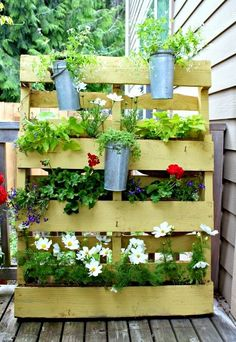 plants in a pallet Small Space Garden with Pallet in pallet garden with Vertical garden Pallets Garden Do It Yourself Balkon, Diy Pallet Projects, Garden Projects, Pallet Ideas, Pallet Designs, Garden Crafts, Pallet Privacy Fences, Garden Privacy, Privacy Planter