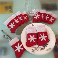 10pcs / set chaussettes noël couverts ensembles de porte-vaisselle dîner…