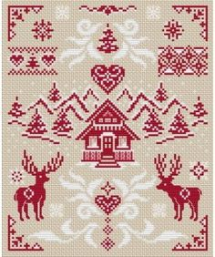 """I chose to stitch the diamond pattern from the upper side of this """"Mountain Landscape"""" design from the Cross-stitchers Club because it ech. Xmas Cross Stitch, Cross Stitch Samplers, Counted Cross Stitch Patterns, Cross Stitch Charts, Cross Stitch Designs, Cross Stitching, Cross Stitch Embroidery, Embroidery Patterns, Pixel Art Noel"""