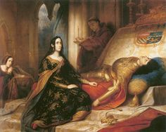 """""""The Tragic Story of Joanna the Mad"""": http://www.medievalists.net/2015/12/08/the-tragic-story-of-joanna-the-mad/ IMAGE: Joanna depicted by Charles de Steuben (1788–1856)."""
