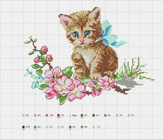 ♥ Cat Cross Stitches, Counted Cross Stitch Patterns, Cross Stitch Charts, Cross Stitch Designs, Cross Stitching, Cross Stitch Embroidery, Embroidery Patterns, Hand Embroidery, Diy Broderie