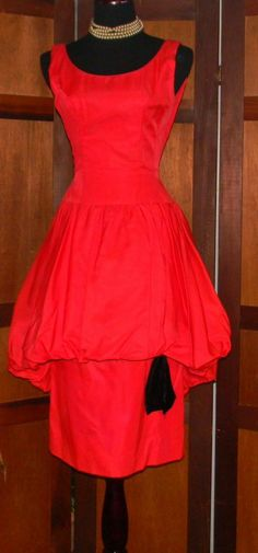 "50's 60s Vintage RED Taffeta  ""Bubble Skirt"" COCKTAIL Dress - Size S/M #Dresses"