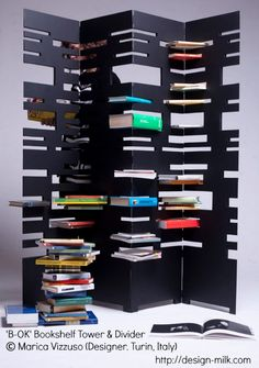 'B-OK' Bookshelf Tower & Divider   © Marica Vizzuso (Designer. Turin, Italy) via design-milk.com Her portfolio: http://issuu.com/maricavizzusodesigner/docs/maricavizzusodesigner  [Do not remove caption. Copyright law requires  you to credit the artist. Link directly to the artist's website.]  PINTEREST on COPYRIGHT: http://www.pinterest.com/pin/86975836526856889  HOW TO FIND the artist who created an image & the original artist's website: http://www.pinterest.com/pin/86975836525507659/