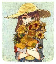 van gogh sunflowers :D Art And Illustration, Illustrations, Cute Girl Wallpaper, Cartoon Wallpaper, Cartoon Kunst, Cartoon Art, Anime Chibi, Manga Anime, Anime Flower