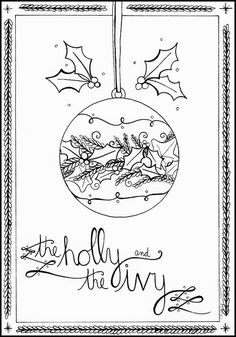 Day 21: The Holly and the Ivy Pen and Ink by Amalia Hillmann