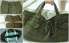 Upcycled Shorts Bag Sewing Hacks, Sewing Projects, Diy Sac, Balenciaga City Bag, Diy Clothes, Bag Making, Shopping Bag, Purses And Bags, Upcycle