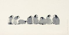 Showcase and discover creative work on the world's leading online platform for creative industries. Watercolor Cards, Penguin Watercolor, Watercolor Christmas Cards, Watercolor Animals, Watercolor Print, Watercolor Paintings, Watercolours, Penguin Art, Baby Penguins