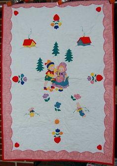 Vintage 40's Nursery Rhyme Hansel Gretel Applique Antique Crib Quilt w Bunnies