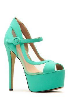 9d88754ebbde Glaze Mint Mesh Contrast Platform Heels   Cicihot Heel Shoes online store  sales Stiletto Heel Shoes