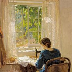 Sewing (the artist's wife) detail 1913, Hans Heysen. Germany (1877 - 1968)