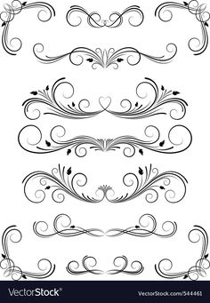 Floral design elements vector image on VectorStock Wood Burning Patterns, Border Design, Tattoo Fonts, Calligraphy Art, Arabesque, Mandala Design, Doodle Art, Design Elements, Hand Lettering