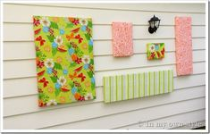 Outdoor Decorating Idea – Wall Art Using a Vinyl Tablecloth | In My Own Style