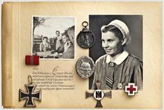 DRK-Schwester Elfriede Wnuk - Orden und Fotoalbum Eisernes Kreuz 2. Klasse, DRK-Schwesternkreuz in Silber, Silbernes Verwundetenabzeichen, ...