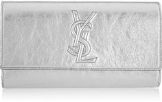 Belle De Jour Large Metallic Texturedleather Clutch