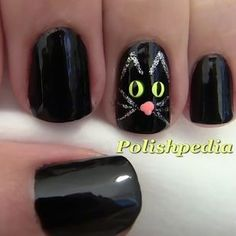 "Thackery Binx black cat nails are purr-fect. | A ""Hocus Pocus"" Manicure Is The Only Costume Your Nails Need"