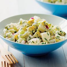 """Say """"potato salad,"""" and this classic recipe comes to mind: chunks of tender potato and plenty of chopped hard-cooked eggs, lightly coated with a tangy mayonnaise dressing full of crunchy red onion, celery, and pickles. Serve it alongside grilled meat for a warm-weather meal."""