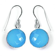 Natural Blue Chalcedony Sterling Silver Earring