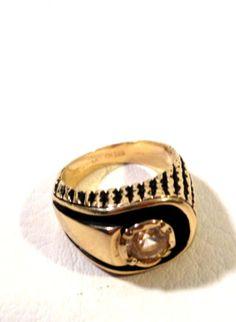 Vintage-18kt-H-G-E-Gold-Plate-Joseph-Esposito-ESPO-Mens-Ring-Rhinestone-Sz-8