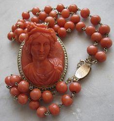 Coral Bacchante Cameo Necklace 1860