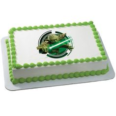 "Cupcake Tops Yoda Star Wars Redondo Helado//Glaseado Personalizado Cake Topper 7.5/"""