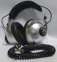 Rare 60s-70s Vintage AKG K180 Headphones Silver/Black UNTESTED/AS-IS Steampunk #AKG