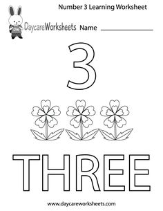 This free printable worksheet helps preschoolers learn the number three by coloring in the number, the corresponding image, and the word three. Preschool Number Worksheets, Letter H Worksheets, Numbers Preschool, Preschool Learning Activities, Kindergarten Lessons, Free Printable Worksheets, Learning Numbers, Free Preschool, Worksheets For Kids