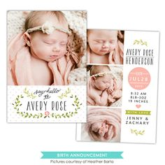 Birth Announcement | Rose garden | Photoshop templates for photographers by Birdesign