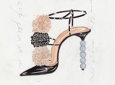 Boceto dibujo diseño zapato Manolo Blahnik