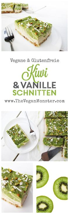 Raw Vegan Gluten-free Dairy-free No-Bake Kiwifruit Vanilla Slices Cake Recipe Rohes veganes glutenfreies milchfreies No-Bake-Kiwifruit-Vanille-Scheiben-Kuchen-Rezept Desserts Crus, Raw Vegan Desserts, Raw Vegan Recipes, Vegan Snacks, Vegan Gluten Free, Dairy Free, Vegetarian Recipes, Cooking Recipes, Healthy Recipes