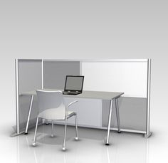 "84"" L x 35"" W x 51"" H Office Partition, White & Translucent Modern Room Divider"