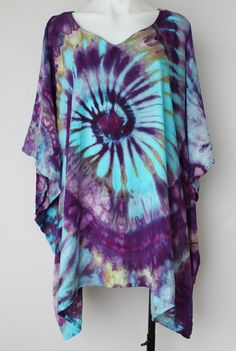 Tie dye Poncho Ice Dyed Rayon - One size fits most - Helen's Iris Patch twist by ASPOONFULOFCOLORS on Etsy