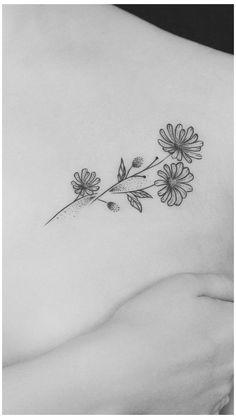 Small Daisy Tattoo, Simple Flower Tattoo, Small Flower Tattoos, Flower Tattoo Shoulder, Flower Tattoo Designs, Small Tattoos, Aster Tattoo, Aster Flower Tattoos, Birth Flower Tattoos