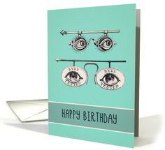 Happy Birthday, Optometrist, Ophthalmologist, Optician, Vintage Design card
