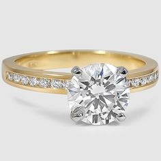 A row of round diamonds suspended in a channel creates eye-catching sparkle in this yellow gold setting. Source by knjdesign Vintage Engagement Rings, Vintage Rings, Diamond Engagement Rings, Round Diamond Ring, Round Diamonds, Affordable Diamond Rings, Wedding Jewelry, Wedding Rings, Bridal Ring Sets