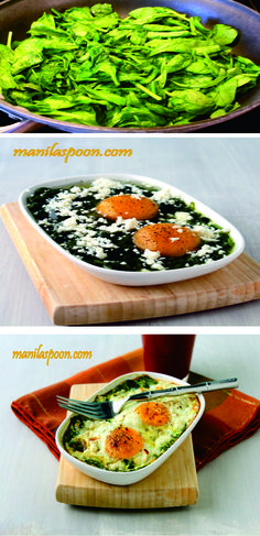 Baked Spinach and Eggs Healthy Recipe  Have I already mentioned that I love hot cooked breakfast? Perhaps just a million times! I am a creature of habit, that's why.