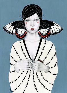 Butterfly girls, illustration by Sofia Bonati - Ego - AlterEgo Art And Illustration, Illustrations, Butterfly Illustration, Inspiration Art, Art Inspo, Sofia Bonati, Desenho Pop Art, Poster Collage, Art Watercolor