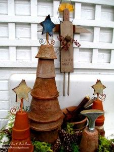 Flower Pot Trees - use your clay pots to create wonderful little trees in the winter garden
