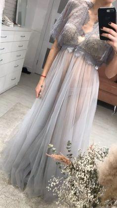 Lace maxi boudoir dress for pregnant / Tulle long gown for bride / Bridal gray peignoir / Sheer boudoir dress Lace Bridal Robe, Bridal Nightgown, Bridal Boudoir, Bridal Robes, Bridal Lingerie, Tulle Dress, Lace Dress, Lace Maxi, Batik Dress