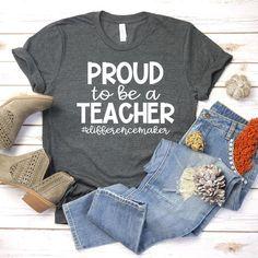 Teacher Shirts Proud To Be A Teacher Teacher Team Shirts Wear Red For Ed Redfored Teacher Gift - Teacher Shirts - Ideas of Teacher Shirts - image 0 Team Shirts, Fall Shirts, Cute Shirts, Vinyl Shirts, Work Shirts, Teaching Shirts, Teaching Outfits, Kindergarten Shirts, Kindergarten Crafts