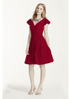 Short Flutter Sleeve Crinkle Chiffon Dress W10304